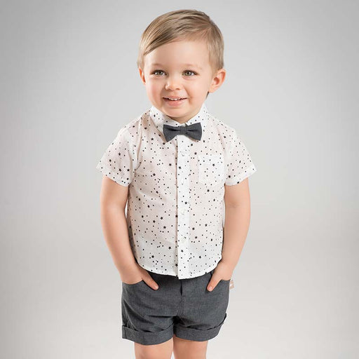 Semi-Formal Cute Attire For Baby Boys | Bowed Shirt & Short
