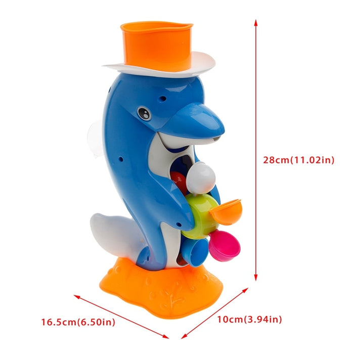Cute Dolphin Bath Shower Wheel Toy Baby Kids Water Spraying Tool