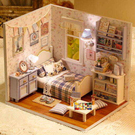 DIY Doll House Miniature Dollhouse With Furnitures 3D Wooden Doll House Toys For Children Birthday Gift Handmade Crafts H003 #E
