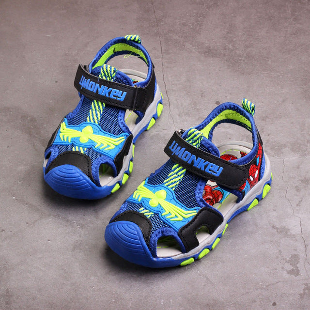 Summer boys sandals,Children beach shoes,Kids spiderman shoes for boy,Casual flat