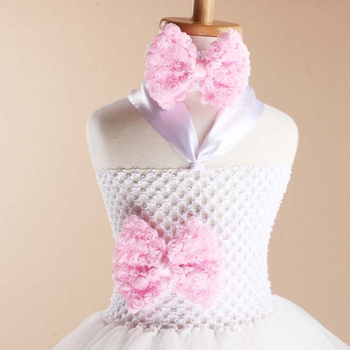 a878f2cbb Toddler Girls Fancy Princess Tutu Dress with Flower Double Layers Fluffy  Headband - KiddyLanes
