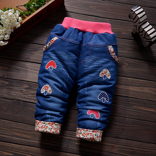 Baby Girl Winter Denim Pants | Thick Cartoon Print Warm Jeans
