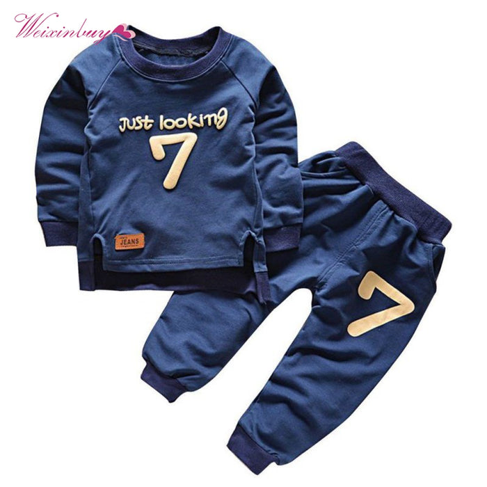 New Cotton O-Neck Letter Print Solid Full Sleeve Sweatshirts Set