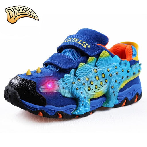 Dinoskulls Boys Genuine Leather Luminous Sneakers Kids Glowing Sneakers Light Up LED Shoes Boys 3D Dinosaur Flashing Sneakers