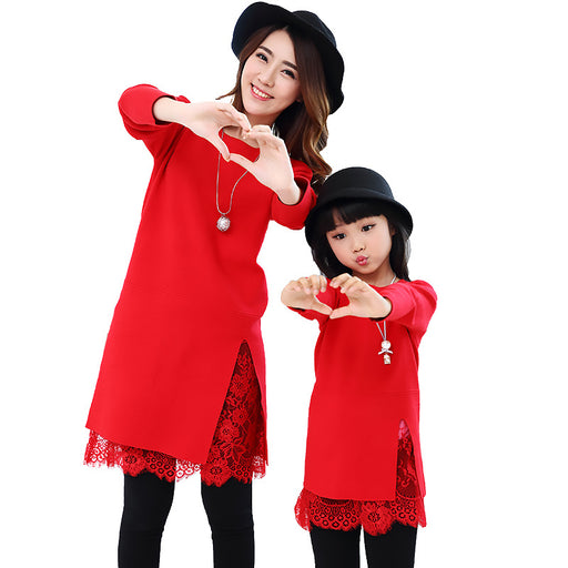 5ca96da089 Mom and Daughter Matching Winter Warm Red Lace Splice Sweater Family Matching  Outfits