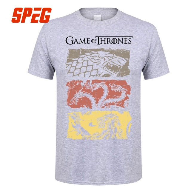 Game Of Thrones Vintage Tees Men T Shirt TV Series House Stark Targaryen