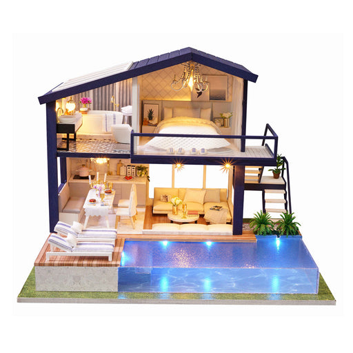 CUTE ROOM New Miniature Dollhouse DIY Dollhouse with Furniture Dust Cover Fidget Wooden Toys for Children Kids Birthday Gift A66