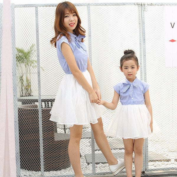 Mother and Daughter Clothes Striped Girls Tutu Dress