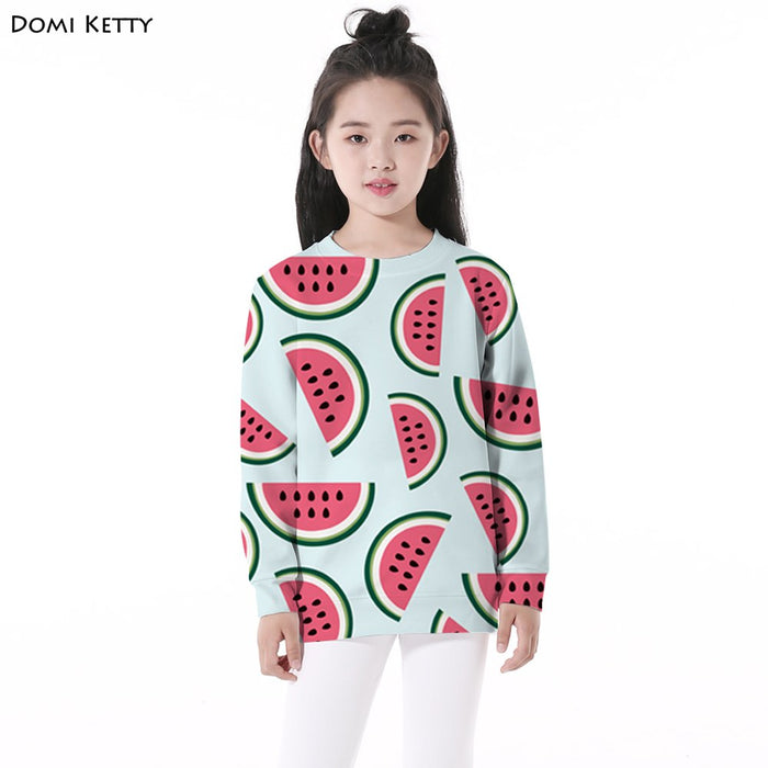 Domi Ketty Hoodies Watermelon Print Casual Pullover for Girls