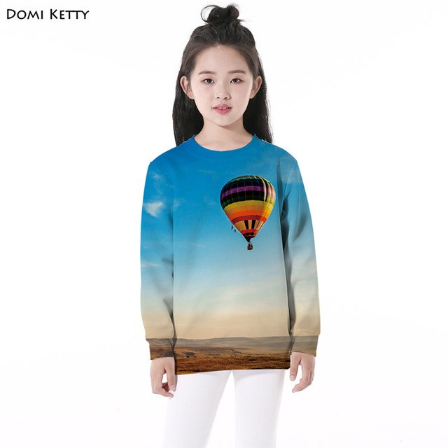 Domi Ketty 3D Print Sky Balloon Girls Pullover Sweatshirts