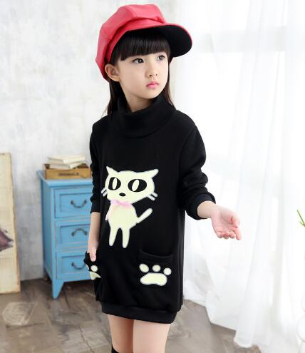 Girls Winter T-Shirt Thicken Fleece Kids Outwear Sweatshirt Warm