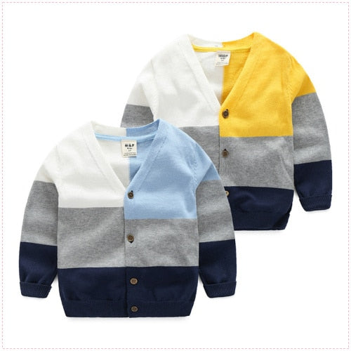 Boys Knitted Cardigans Button Closeup Sweaters