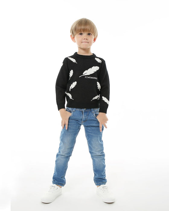 Boys Knitted Sweater Black Pullover Jumpen