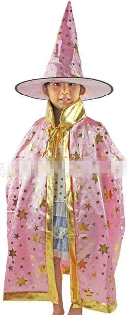 Kids Children Halloween Costumes Witch Wizard Cloak Gown Robe with Hat