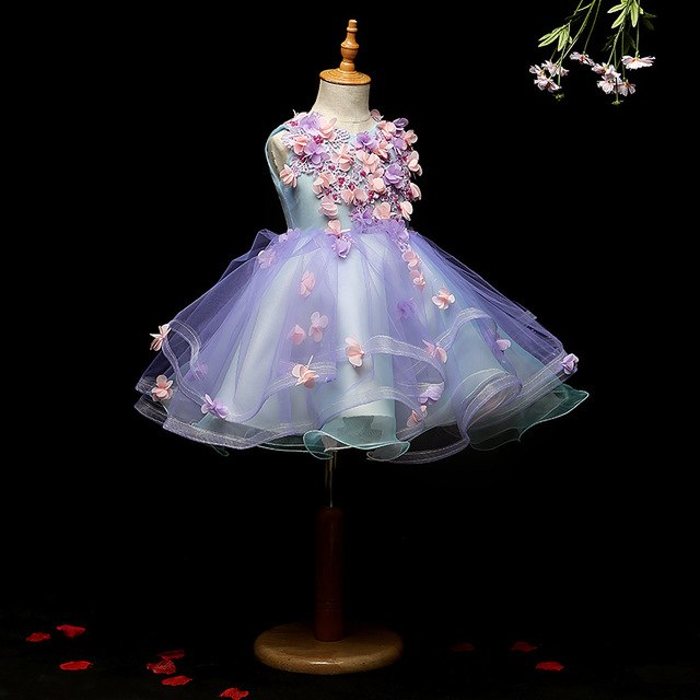 Purple Flower Girls Dresses for Weddings Baby Party