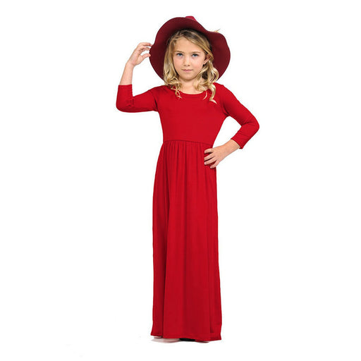 8 Colors Fashion Brief Solid Dresses For Girls Long Sleeve Spring Autumn Maxi Dress Kids Party Princess Dress For 3-10 Yrs