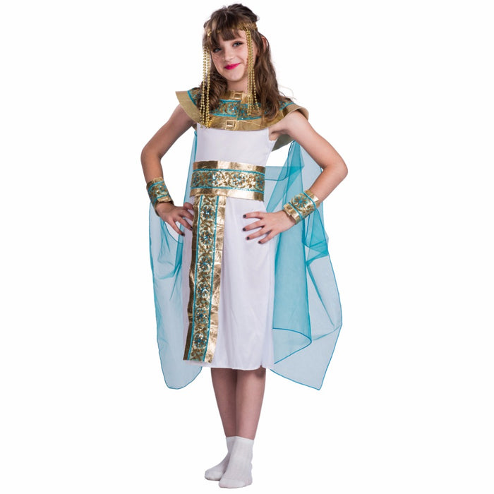 America Style Dress with Belt Set Egyptian Queen Costume Girl High Quality Cosplay Costumes Kids Halloween Costumes