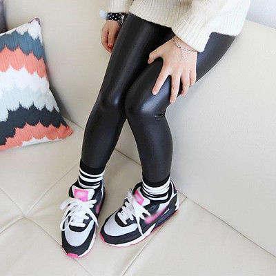 Baby Girls Kids Black Faux Leather Stretchy Skinny Pants Leggings Trousers 1-8Y - KiddyLanes