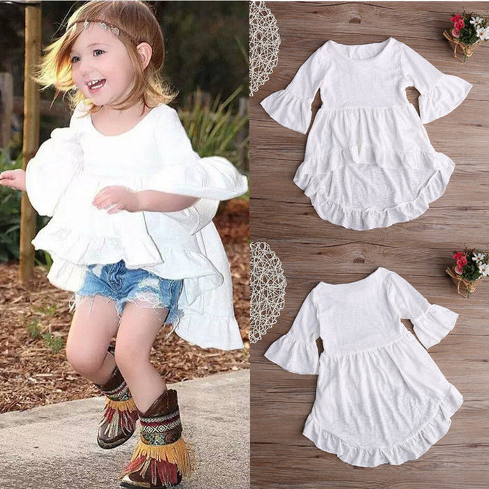 White Ruffled Cotton Outfits Top Dress Blouse 1pcs Kids Children Baby Girls Clothing pretty elegant Princess Clothes Girls New - KiddyLanes