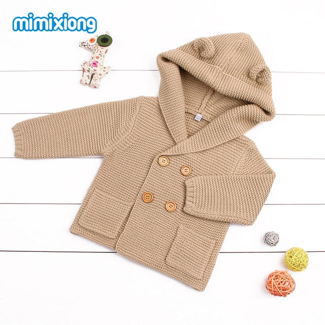 Baby Girls Cardigans Winter Autumn Hooded Woolen Knitted Sweaters