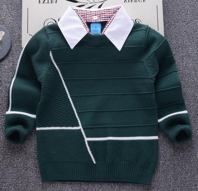 Shirt Collar Boys Sweaters Stripe Pullover Knit Sweaters