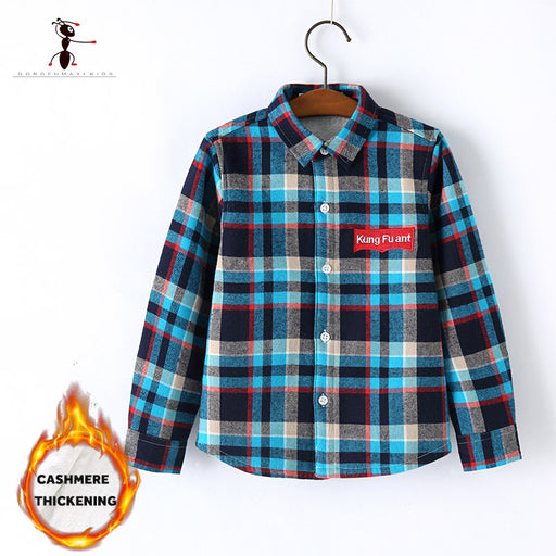 Autumn Winter Boys Shirt Classic Plaid Plush Inside Fur Lined