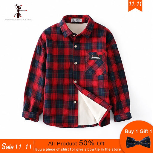 Plaided Warm High Quality Cotton Plush Shirts with Free Bow Tie