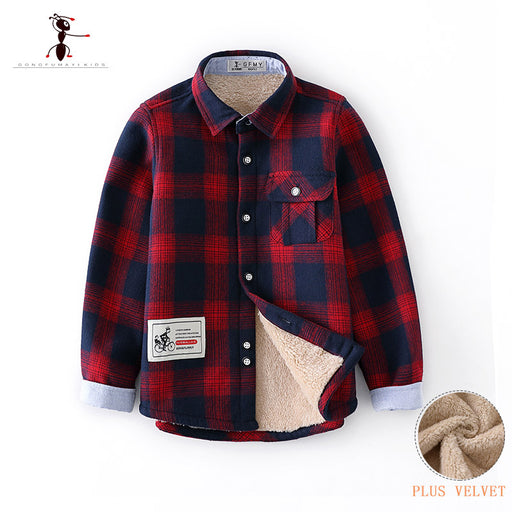 Kung Fu Ant Original Autumn Winter Plaid Warm Plush Boys Shirts