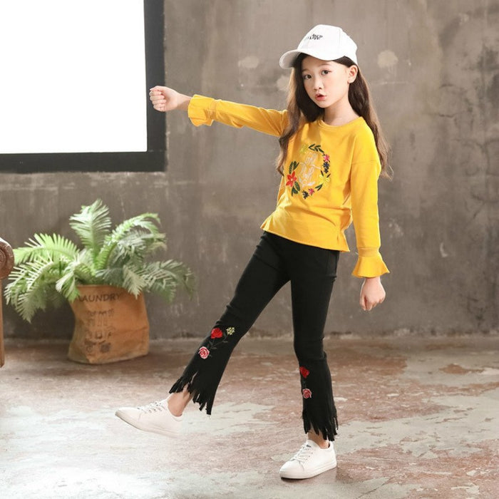 Baby Girls long-sleeved sweater plus bell bottom pant suits