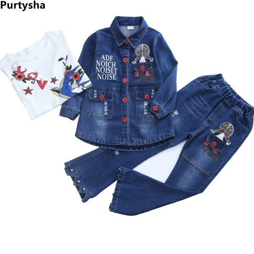 Children Girls Bell Bottom Denim Dressing Set