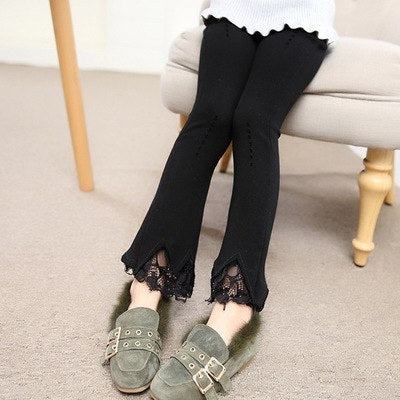 Girls pants bell bottoms pants in the solid color lace cotton trousers