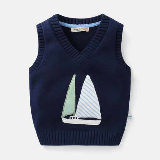 Hot Sale Autumn Winter V-neck Baby Boys Knitted Stylish Vest