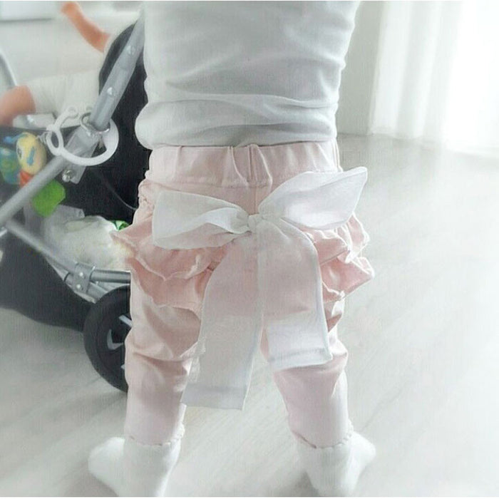 White Chiffon big bow gray baby Trousers pants 0-2 years old Baby girl Leggings - KiddyLanes