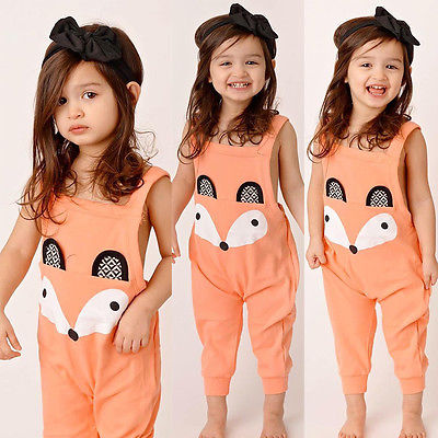 Princess Baby Kids Girl Cotton Orange Jumpsuit Cartoon Fox Bib Overalls Clothes  1-6Y - KiddyLanes