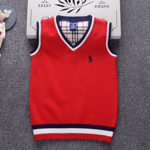 Sleeveless V-collar Boys Girls Sweater