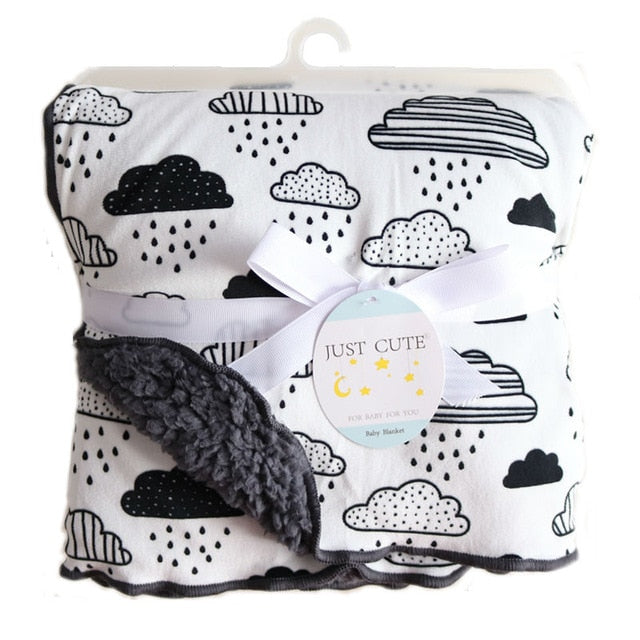 Baby Blankets New Thicken Double Layer Cartoon Fleece Infant Swaddle Bebe Envelope Stroller Wrap Newborn Baby Bedding Blanket