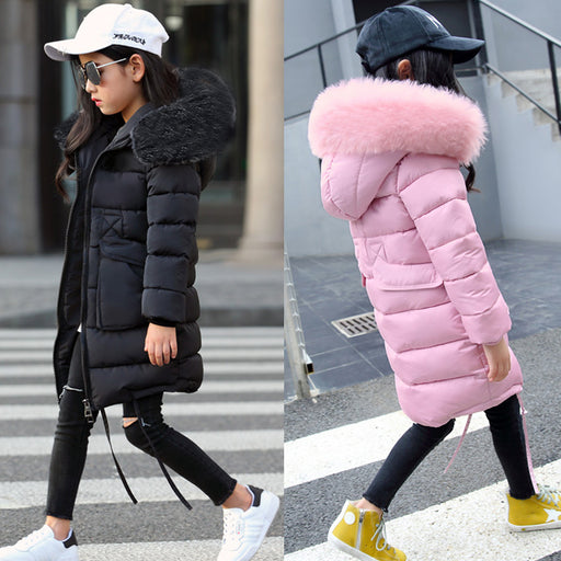 New Girls Long Padded Jacket kids  Winter Coat Kids Warm Thickening Hooded down Coats For Teenage Outwear -30 winter coat