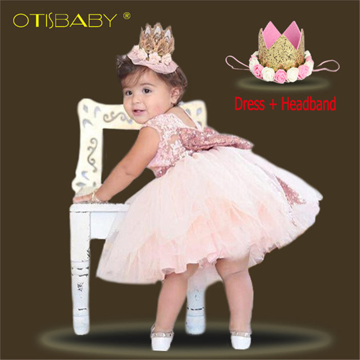 Princess dresses for baby girls | First birthday dresses for girls |  Sleeveless girl frocks with headbands |