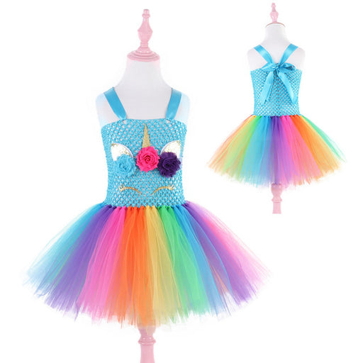 Baby Girls flower, rainbow colors frilled, mesh net party frock.