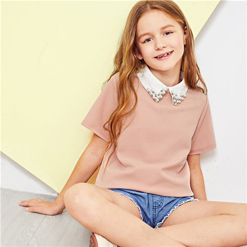 SHEIN Pink Solid Girls Contrast Beaded Collar Elegant Blouse Kids Tops