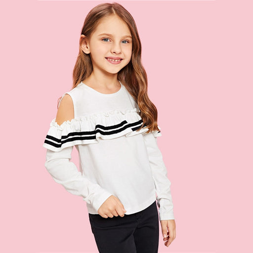 SHEIN Kiddie White Cold Shoulder Ruffle T Shirt For Girls Shirts