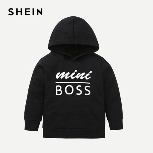 Toddler Boys Black Letter Print Hooded Casual Sweatshirt Kids Clothes |  Spring White Long Sleeve Pullovers Tops