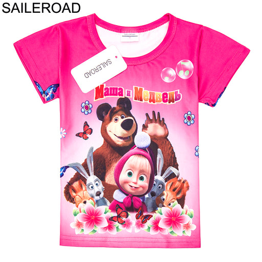 Masha and the bear print Baby Girls Tops Tees T Shirt