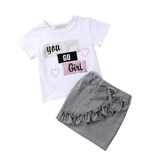 Girls letter print white t-shirt top and flower pleated, ruffle, bow tie, elastic waist, mini grey skirt, summer dress set.