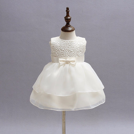 Newborn Girls layered A-line lace, bow-knot white frock, baptism dress, christening gown.