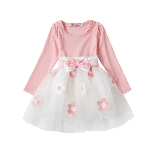 Newborn Baby Girls full sleeve floral layered white & pink bow-knot belted A-line frock. Christening & baptism dresses.