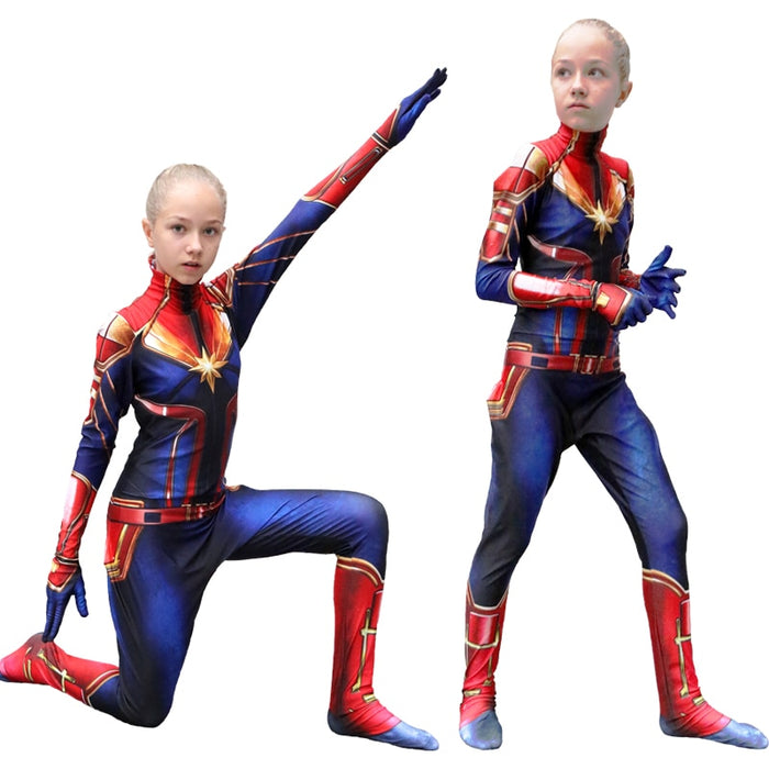 Girls Captain Marvel Cosplay Costume Children Superhero Ms Marvel Carol Danvers Bodysuit Jumpsuit
