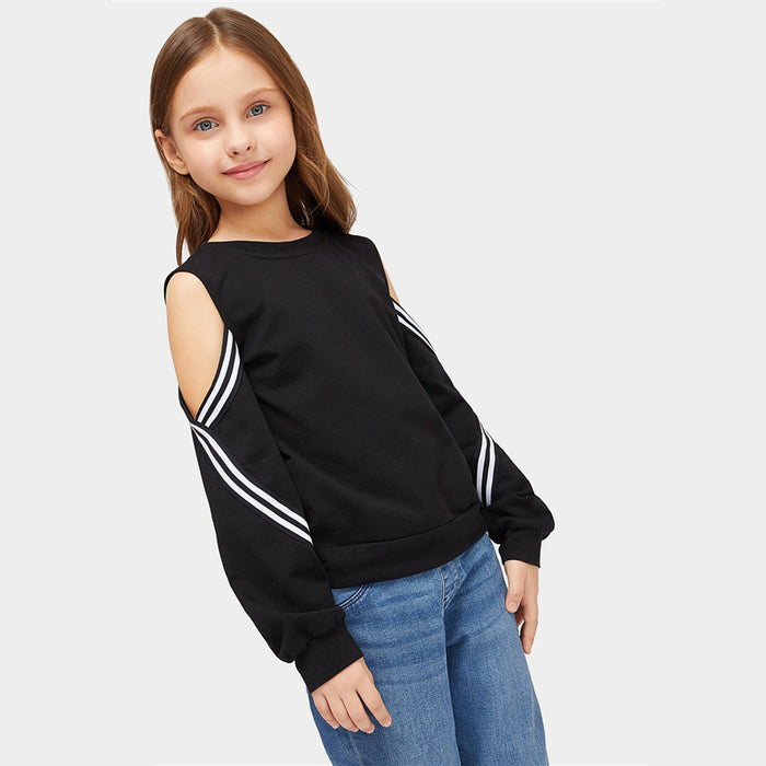 SHEIN Kiddie Black Striped Cold Shoulder Girls Sweatshirts Kids Clothing