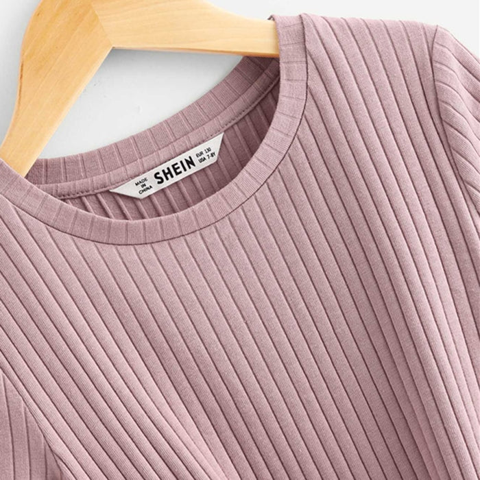 SHEIN Kiddie Pink Solid Ribbed Knit Knot Hem Casual Girls Tee Teenager Tops