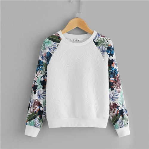 SHEIN Kiddie White Floral Print Cute Sweatshirt For Toddler Girls Tops